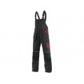 Kalhoty ORION KRYŠTOF, montérkové s náprsenkou, černo-červené